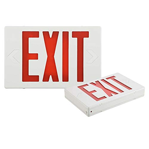 EXITLUX 2 Pack LED Red Exit Sign with Emergency Lights with Battery Backup-Hardwired Red LED Combo Exit Sign Emergency Lighted- US Standard UL Listed -Double Face ,Emergency Lights for Business