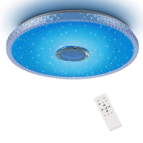 Plafón LED con Mando a distancia RGBW Cambio de Color, Plafón Horevo 36W Ø 50CM 3000lm con altavoz, regulable, color, estanco IP44 para dormitorio, comedor, salón, balcón, pasillo cocina