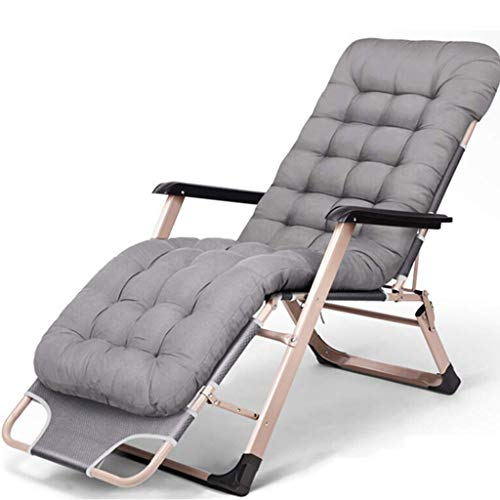 Unknow Zero Gravity Chair - Bain de Soleil Pliant et inclinable d'extérieur avec Coussins épais - Fabriqué à partir d'un Cadre en Acier pour Patio, véranda ou Chaise Longue, Velours Gris