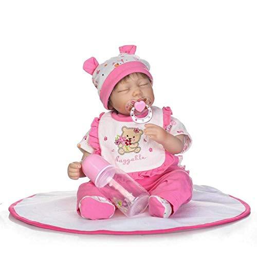 24 Pulgadas 60cm Real Life Big Real Baby Size 6-9Month Long Straight Hair Princess Silicona Reborn Toddler Dolls Vestido de Mariposa Cuerpo Relleno Suave Muñeca de niña recién Nacida