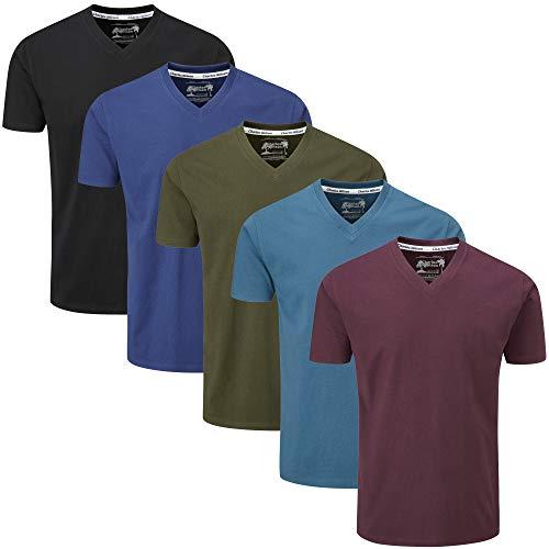 Charles Wilson Paquete 5 Camisetas Cuello Pico Lisas (X-Large, Dark Essentials 43)