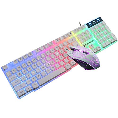 LoveOlvido T6 Praktische waterdichte lichtgevende toetsenbord en muis set desktop computerspel Mechanisch gevoel Slijtvast