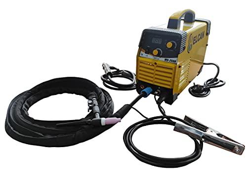 ELCAN Máquina inverter soldar TIG (Tungsteno Inerte Gas) de 250 Amperios DC (corriente continua) digital con encendido alta frecuencia HF y grupo soldadura electrodo MMA Con MOSFET