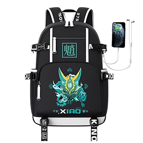 JXEXF Genshin Impact Travel Rucks Mochila para Adolescentes Niñas, Anime Laptop Backpack Rucksack Schoolbag, Regalos para Adolescentes (Color : Patterned, Size : 45 * 38 * 18cm)