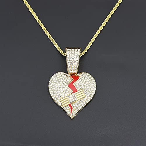 JOMYO Cubanas Cadenas, Cadenas Plata Hombre, Corazón Roto, Hip Hop Full Diamond Ribbon Aid Heartbreak Colgante, Collar De Diamantes De Aleación, Ok Vendaje Pendiente De Amor