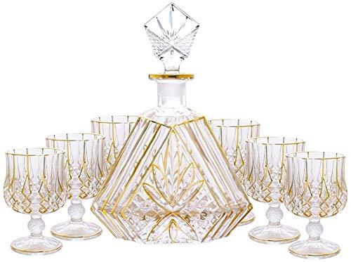 Decantadores Vintage Oro con Tapa Set de Vino de 7 Piezas Set de 7 Piezas Cubileta de Vino de Cristal de Cristal de Cristal de Cristal de Cristal de Cristal de Cristal de Cristal de Cristal de Vino