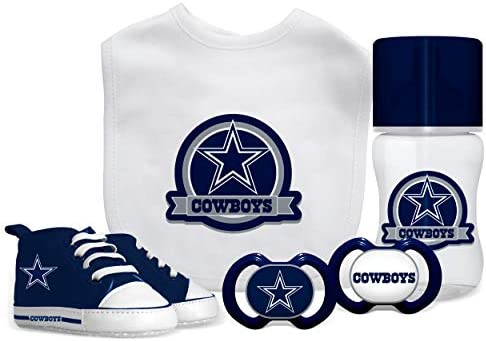Baby Fanatic NFL Dallas Cowboys Gift Set 5 Piece Set 2 Pacifiers Bottle Bib Pre Walkers Team product image