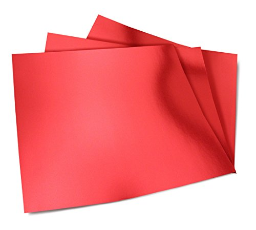 Hygloss Products Metallic Foil Board Sheets - 12 x 12 Inches – Red, 10 Pack