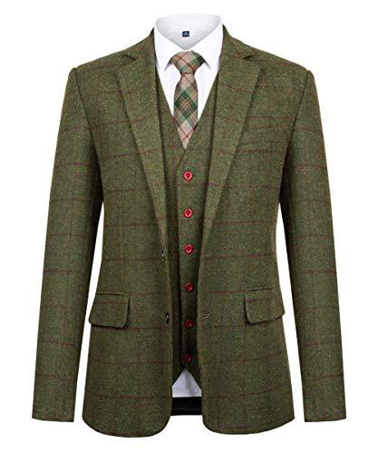QZI Herren Slim Fit Anzug aus Karierter Wollmischung mit Zwei Knöpfen, Revers-Smoking, DREI Teile, Vintage-Retro-Anzug