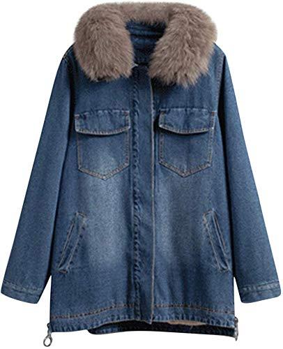 CAHANKO Women's Casual Fur Collar Sherpa Denim Jacket Fleece Lined Long Coat