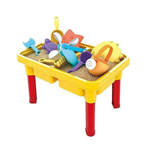 WISHTIME Kids Sand and Water Table - Outdoor Indoor Beach Play Activity Table Sandbox with Cover and 15 Pcs Accessories for Kids, Toddlers and Children