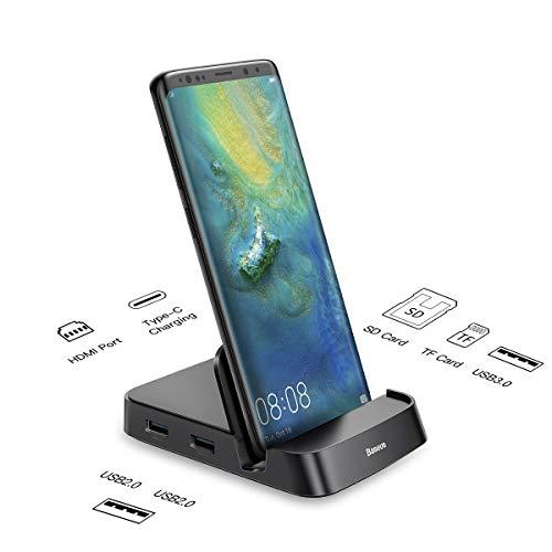 USB C HUB para teléfono inteligente, Baseus Smart Dex-Station, Tipo C a 4K HDMI, estación de acoplamiento para Samsung Galaxy S10 / S9 / S8/ Note 9/8, Huawei P30 / P20 Pro / Mate 10, etc., Negro