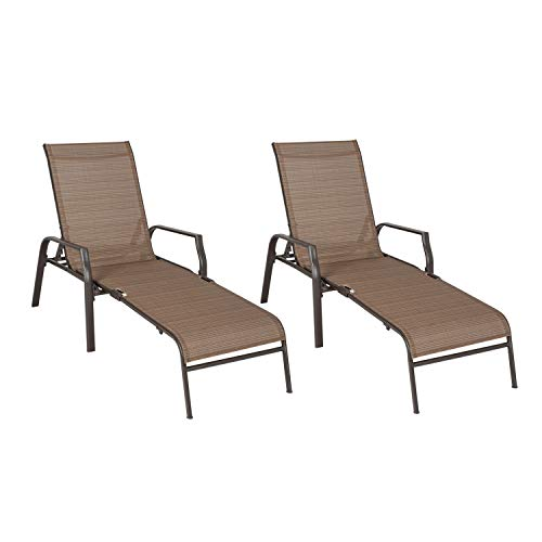 Ulax Furniture Outdoor Patio Adjustable Chaise Lounge Chairs Recliner Set of 2