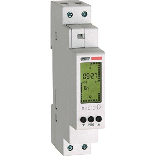 Vemer S.p.A. ve758100Interruptor Horario Digital Micro-D con programación Diaria de Barra DIN, Gris Claro