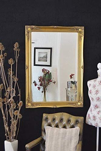 RICH GOLD EXTRA LARGE SHABBY CHIC ANTIQUE STYLE MIRROR - 30' X 42' OVERALL...