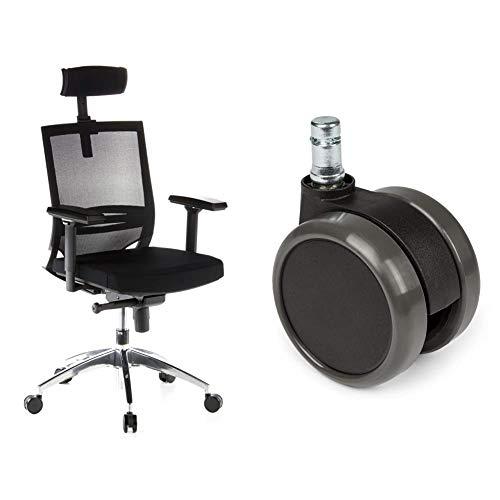 hjh OFFICE 657240 Bürostuhl Drehstuhl Porto MAX Netzstoff schwarz + Hartbodenrollen für Bürostuhl ROLO Stift 11 mm/Rolle 65 mm