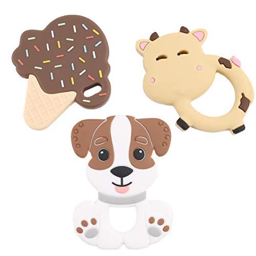 Promise Babe 3pc Colgante Mordedor de Silicona Juguetes para la Dentición del Bebé Accesorio de Dentición Helado Perro Hipopótamo Animal Coloridos Granos de Masticación