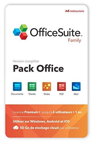 OfficeSuite Family – 6 Utilisateurs – Documents, Sheets, Slides, PDF, Mail & Calendar pour 1 PC Windows et 2 appareils mobiles par utilisateur / Licence de 1 an