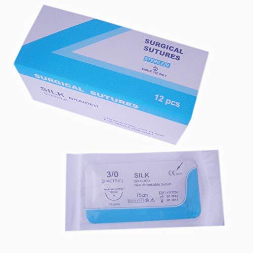 Hilo de sutura de seda (paquete de 12) para estudiantes de medicina, médicos, dentistas, enfermeras y veterinarios (4/0 USP)