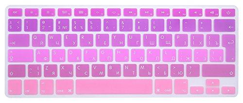 MMDW EU/UK Russische Tastatur-Abdeckung für MacBook Pro 13 Zoll, 15 Zoll (mit oder ohne Retina-Display, 2015 oder ältere Version) altes MacBook Air 13 Zoll europäische/ISO Tastatur-Layout Silikon Skin