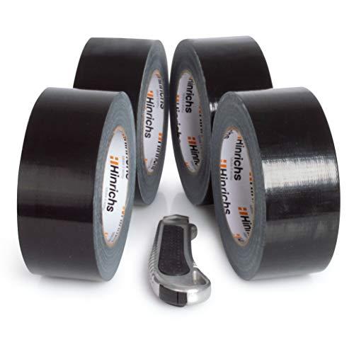 Hinrichs 4 Rollos de Cinta Americana 50m x 50 mm - Cinta Adhesiva Negra - Duct Tape para Interiores y Exteriores
