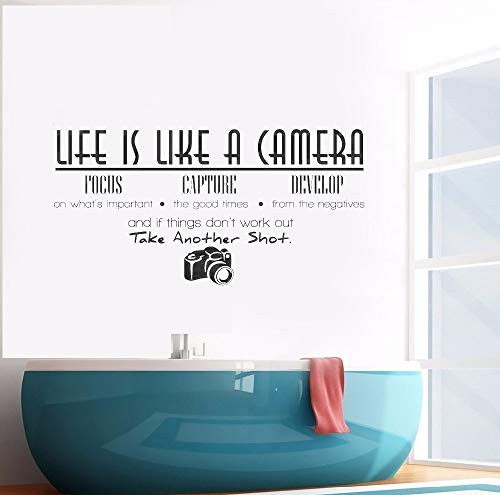 yaofale Das Leben ist wie eine Kamera Zitat Wandtattoo Vinyl Kunst Wandaufkleber für Home Decoration Wandaufkleber Wandmalerei