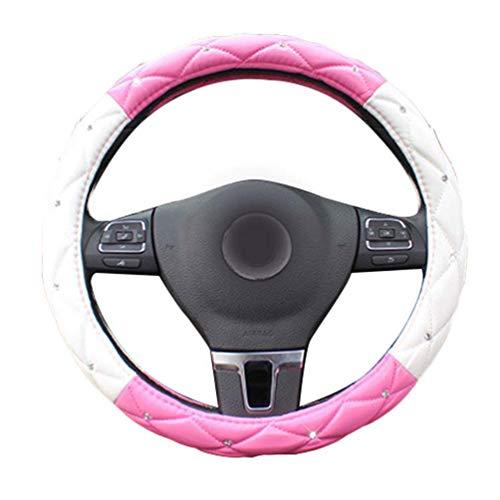 Mengmiao Damen Lenkrad Abdeckung Atmungsaktiv Strass Weich Autoinnenraum Anti Rutsch PU Leder Lenkradhülle (Pink Weiß, 38 cm(Außendurchmesser))