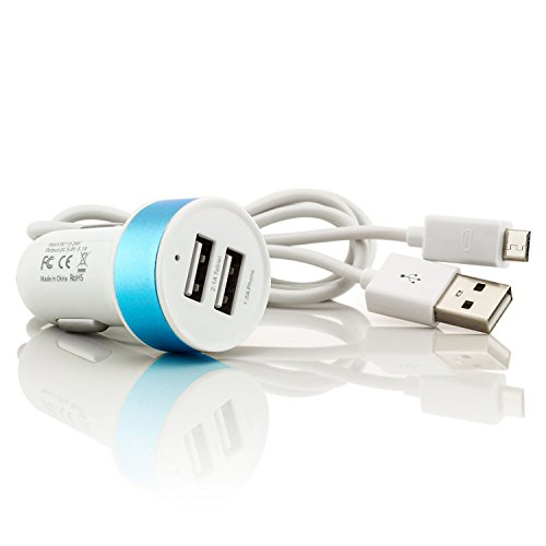 Saxonia KFZ Ladeadapter 2X USB-Port | Universal Auto Ladegerät für Tablet Smartphone Navi E-Book Reader | Farbe: Blau + USB-Kabel 1 m Weiß