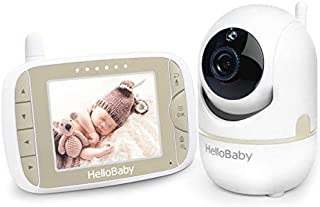 Baby Monitor with Remote Pan-Tilt-Zoom Camera and 3.2'' LCD Screen, Infrared Night Vision, Temperature Display, Lullaby, T...