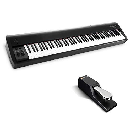 M-Audio Hammer 88 + SP-2 - Teclado controlador USB/MIDI profesional con 88 teclas de acción martillo y paquete de software + Pedal de sostenido universal de estilo piano para teclados electrónicos