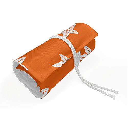 ABAKUHAUS Seestern Mäppchen Rollenhalter, Aquarium Fauna Muster, langlebig und tragbar Segeltuch Stiftablage Organizer, 72 Schlaufen, Orange Weiss