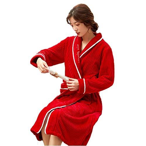 LZQBD Pyjamas, Damen Mit Kapuze Plüsch Shimmer Fleece Ankleidekleid Bademantel Weiche Fleece-Roben-Sets,Rot,Mittel