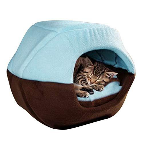 TENGGO Gato Perro Cama Alfombra para Mascotas Casa Plegable Soft Animal cálido Cachorro Cueva Almohadilla para Dormir de Invierno-Cielo Azul S