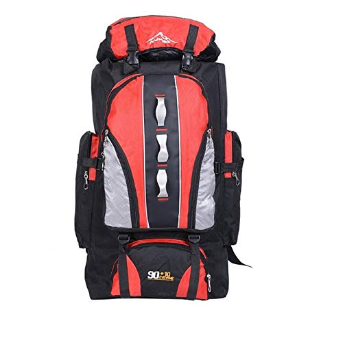 Large Knapsack 100L Outdoors Sports Bags Waterproof Nylon Backpack Women Men Hiking Camping Climbing Fishing Rucksack Bag gym backpack hiking bags rucksacks for men (Color : Red)