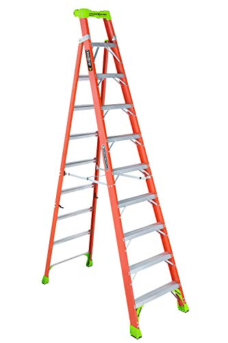 Louisville Ladder 10-Foot Fiberglass Cross-Step Step/Shelf Ladder, 300-Pound Capacity, Type IA, Orange, FXS1510