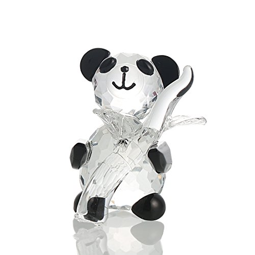 H&D Clear 3D Crystal Paperweights Animals Facet Handmade Holding Panda with Bamboo Figurines Glass Table Gifts