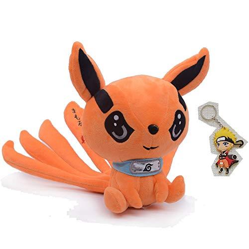 9.8in Anime Stuffed Animal Kurama Kyuubi Plush Toys Doll Cute Fox Stuffed Plush Gift for Baby Kids (25cm, Orange)