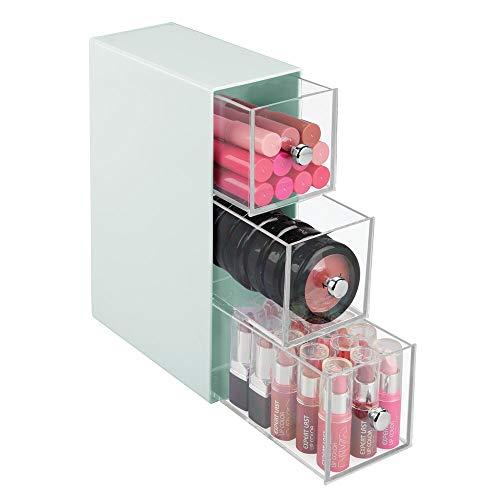 mDesign Cajonera de plástico – Organizador de cosméticos con 3 cajones – Práctica cajonera para el baño – Verde Menta y Transparente