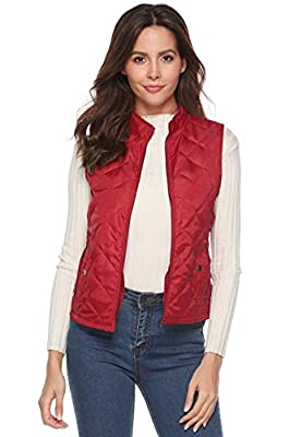 EVERICH Women's Autumn Winter Vest Slim Fit Stand Collar Quilted Padded Lightweight Zipper Vest with Pockets (Red, M)