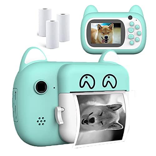 QIANGUANG Cámara de impresión instantánea para niños, cámara Digital para Selfies con Foto de impresión sin Tinta, Pantalla de 2,4 Pulgadas, Regalos de Juguete para Fiesta de cumpleaños (Azul)