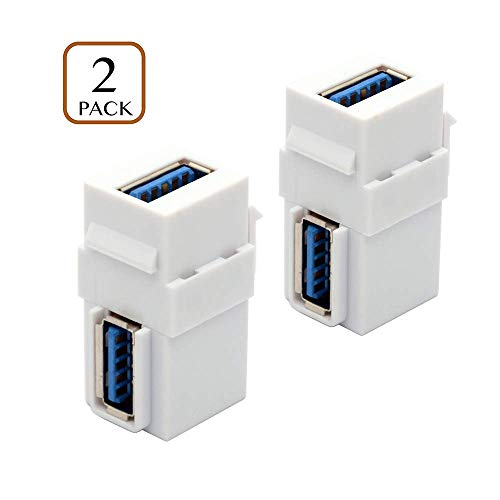 Maxhood 2-Pack USB 3.0 Keystone Jack Inserts, 90 Degree Right Angled USB to USB Adapters Female to Female Connector For Wall Plate Outlet Panel-White