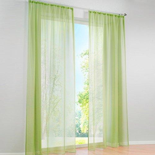 HongYa 1er-Pack Uni Gardine Transparenter Voile Schal Vorhang mit Kräuselband H/B 245/145 cm Grün
