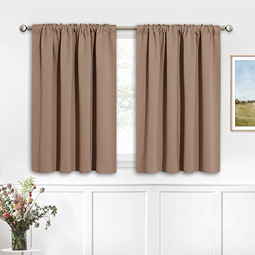 RYB HOME Small Window Curtains - Half Window Decor Blackout Window Shades for Living Room, Short Curtains for Cafe Shop Bathroom, 42 inches Wide x 36 inch Long, Mocha, 2 Panels