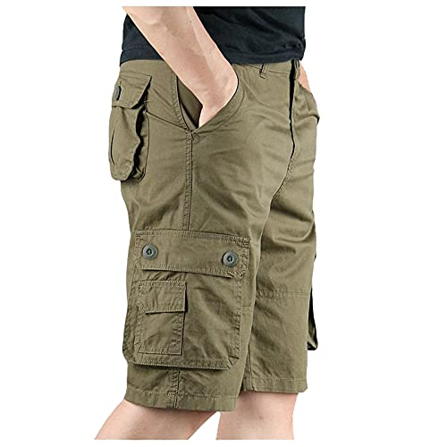 Plus Size Cargo Shorts for Men, Casual Lightweight Multi Pockets Short Classic Relaxed Fit Stretch Outdoors Shorts Beige