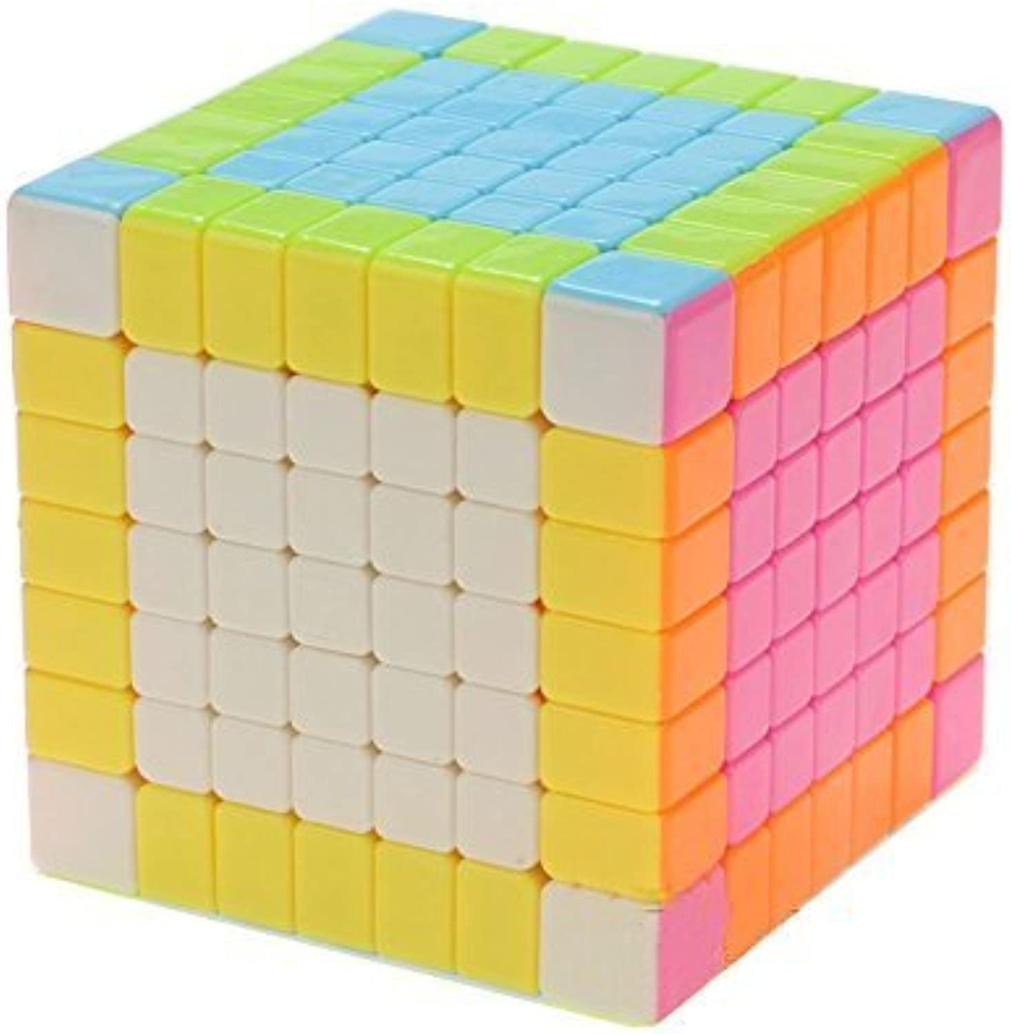 Qm-h 7x7x7 Speed Puzzle Magic Cube 6-color Stickerless Pink 2.75''