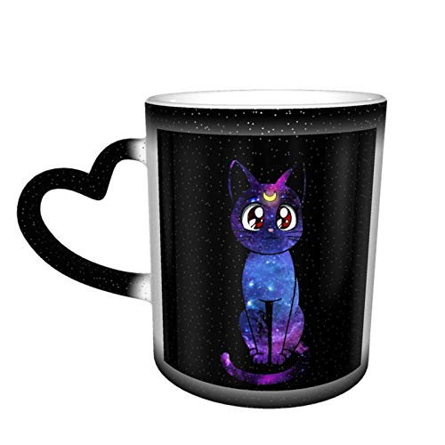 Marshall Darren Sailor Moon Luna Ceramic Coffee Mugs, Heat Sensitive Color Changing Coffee Mug Milk Tea Cup Personalized Gifts for Family Lovers Friends (Black-Starry Sky)
