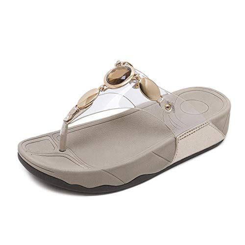 N / A Hi Tec Walking Boots Mens,Summer Slope-Heel Platform Flip Flops, Flip-Flops Flat-Bottom Sandals and Slippers-Golden_38