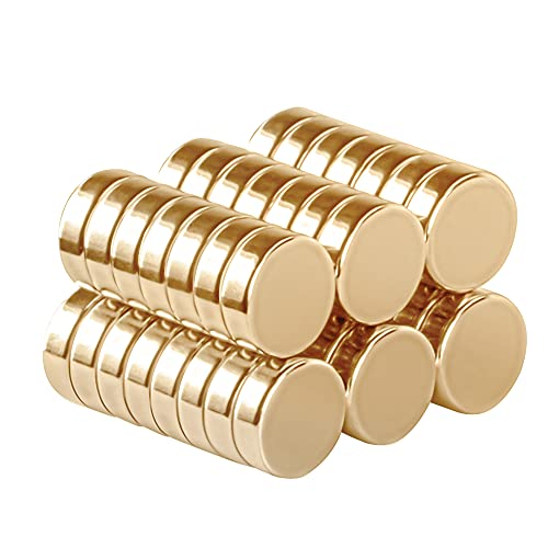 SMARTAKE 45 Pcs Refrigerator Magnets, Small Round Office Magnets, Multi-Use Premium Neodymium Magnets for Fridge, Whiteboard, Billboard, Dry Erase Board in Home, Kitchen, Office and School (Gold)