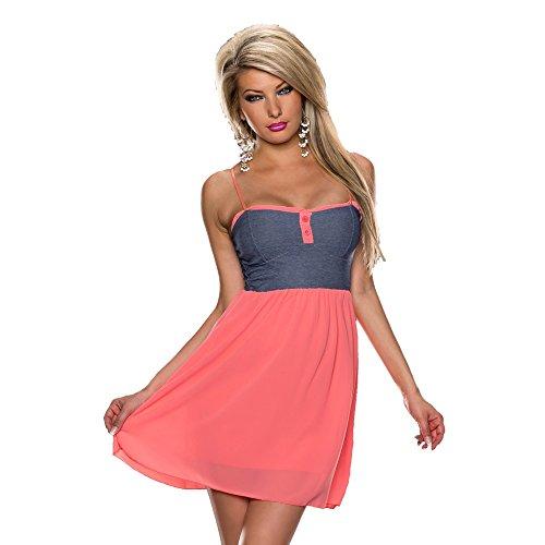 Italy Moda Sexy Damen-Sommerkleid, Freizeitkleid, Einheitsgröße 36, 38, 40 Gr. Einheitsgröße, Blau / Koralle