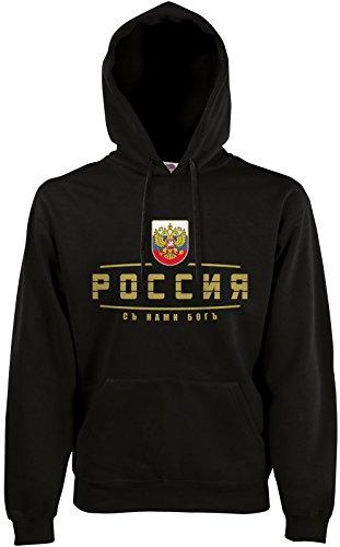 AkyTEX Russland Russia Fan Hoodie Kapuzenpullover WM2018 Schwarz S